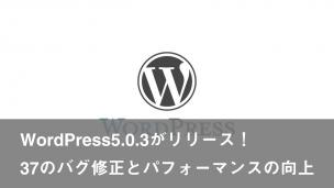 WordPress5.0.3がリリース!37のバグ修正とパフォーマンスの向上