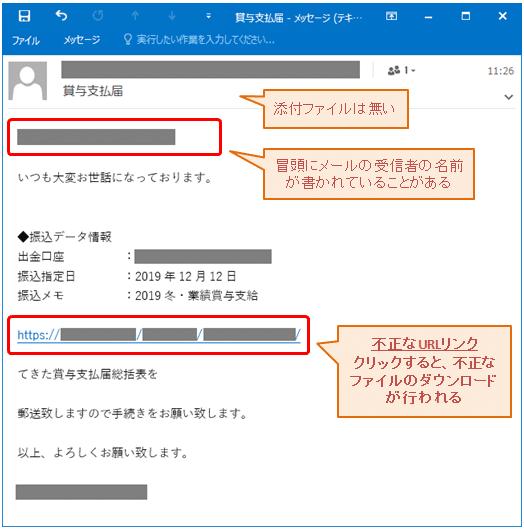 emotetウイルスメールの例